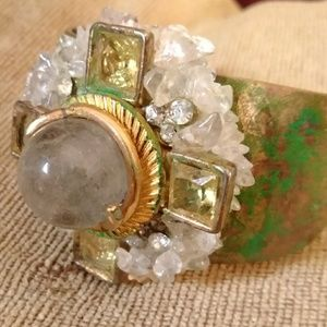 ARTISAN OOAK bangle MAYAN Crystal tarnish treasure